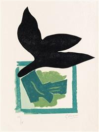 oiseau noir sur fond vert by georges braque