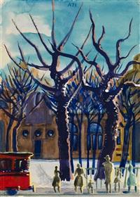 tram stop in peterhof by alexander arefiev