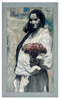 a woman in a white dress holding a bunch of red flowers by pascal de souza