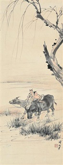 herding boy with cattles by guan shanyue
