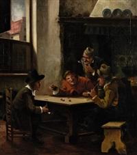 würfelspieler in der stube by josef adam