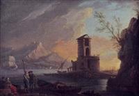marina al tramonto con figure e velieri by carlo bonavia