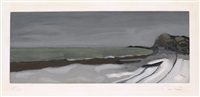 varengeville.<br/>color aquatint, circa 1955. 260x640 mm; 10 1/4x25 1/4 inches, full margins. signed and numbered 184/300 in pencil, lower margin. printed by crommelynck, paris, with the blind stamp lower left. a superb, richly-inked impression with strong by georges braque