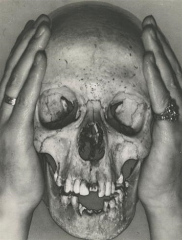 skull with charley toorop's hands by erwin blumenfeld