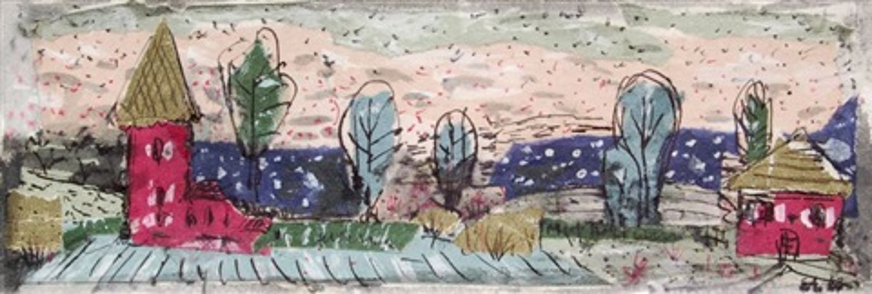 kleine landschaft mit haus und roter kirche by elisabeth ahnert