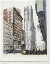 wrapped building, project for #1 times square, 42nd street and broadway, new york city by christo and jeanne-claude