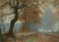 allee bei fischerhude im nebel by hermann angermeyer