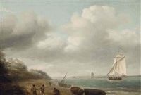a cutter yacht running into the exe estuary off exmouth by thomas luny
