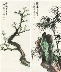 梅竹双清 (2 works) by xie zhiliu