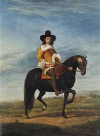 equestrian portrait of a gentleman, full-length, with a hound and an extensive landscape beyond by adriaen van de velde