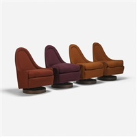 swivel lounge chairs (set of 4) by milo baughman