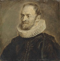 portrait of nicholas rockox in black coat and a white ruff by sir anthony van dyck