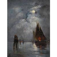 lagune de venise au clair de lune by alfred stevens