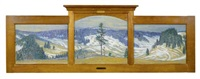 paysage en triptyque (triptych in 1 frame) by maurice mathey