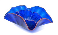a studio double glass bowl width at widest 20 3/8 inches by dale chihuly