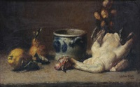 nature morte avec volaille, fruits et grès by walter vaes