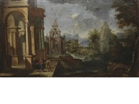 two architectural capricci with scenes from the life of christ (2 works) by alessandro salucci