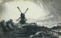 windmill with storm clouds by john constable