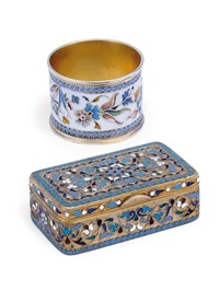 snuff box (+ napkin ring; 2 pieces) by vasili igorovich rukavishnikov