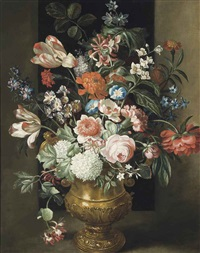 roses, parrot tulips and other flowers in a sculpted urn on a ledge by simon pietersz verelst