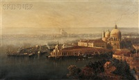 morning, a birds view of venice by george loring brown