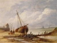 trocken aufliegendes segelschiff in einem hafen der ostseeküste by carl theodor staaf