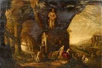die jagdgöttin diana mit gefolge vor einer ruinenlandschaft by rombout van troyen