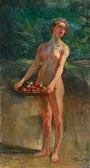 weiblicher akt mit früchteschale: pomona iii by wilhelm trübner