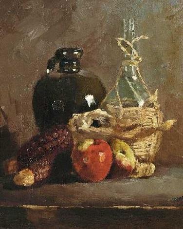 stillleben mit äpfeln mais krug und korbflasche by theodor alt