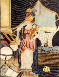 a woman in a turban and long robe holding a cornucopia, standing in front of a window in a room setting with books, globe, scrolls and draped curtains, with farmer in a field, a church and sea by abraham w. heebner