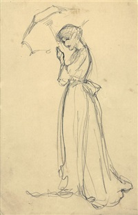 lady with parasol by philip leslie hale