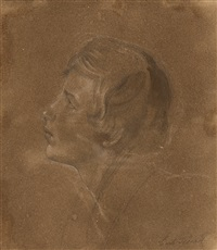 porträt eines jünglings im profil nach links (+ figurenskizze, verso) by carl gottlieb peschel