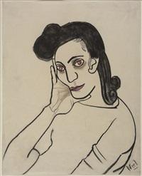 portrait of dark haired woman by alice neel