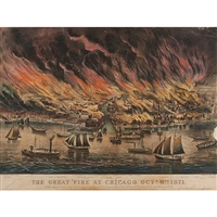 the great fire at chicago, october 8th, 1871 by currier & ives (publishers)