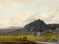 weite landschaft mit bauerndorf und staffage by georges michel