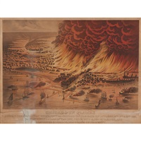 chicago in flames by currier & ives (publishers)
