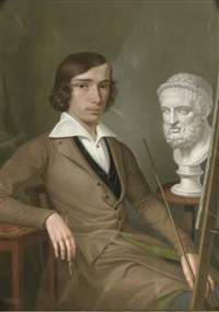 self-portrait at the easel holding a porte-crayon and a mahl-stick by heinrich fischer