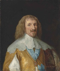 portrait of philip herbert, 1st earl of montgomery and 4th earl of pembroke in a golden doublet and lace collar, wearing the greater george by sir anthony van dyck