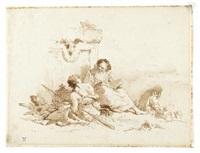 figura orientale che legge con due figure by giovanni battista tiepolo