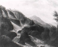 gebirgslandschaft mit wasserfällen und einer burganlage by johann michael frey
