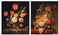 bouquet de fleurs dans un vase sur un entablement (2 works) by abraham mignon