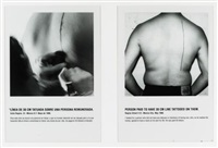 linea de 30 cm. tatuada sobre una persona remunerada - line of 30cm. tatooed on a remunerated person (2 works in 1 frame, w/text) by santiago sierra
