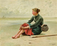 fisherwoman at rest by august vilhelm nikolaus hagborg