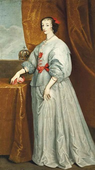 portrait of queen henrietta maria in a blue dress with red ribbons, with a pearl necklace and earring by sir anthony van dyck