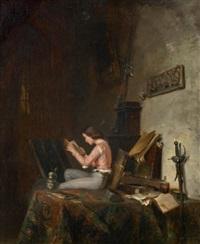 jeune garçon en costume renaissance lisant dans un intérieur by philippe rousseau