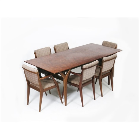 A Heals Kevasinga African Rosewood Veneer D5519 Dining Table And Six Chairs Designed By Christopher Heal Von Heal And Son Co Auf Artnet