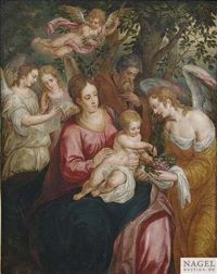 die heilige familie mit dem engel by hendrick de clerck
