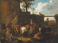 travellers and their horses at rest outside an inn by philips wouwerman