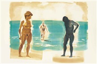 four aquatints : three prints (3 works) by eric fischl