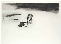 dog and beach (set of 2) by eric fischl